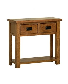 Devonshire Rustic Oak 2 Drawer Console Table