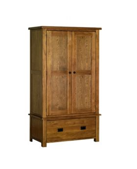 Devonshire Rustic Oak Gents 1 Drawer Wardrobe