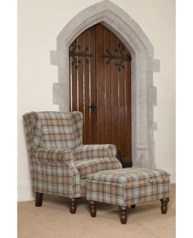 Shetland Wing Chair & Storage Stool - Dove Grey
