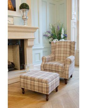Shetland Wing Chair & Storage Stool - Latte