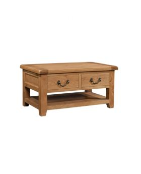 Devonshire Somerset Oak Coffee Table With 2 Drawers