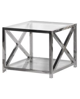 Terano Glass and Steel Lamp Table