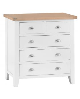 Kettle TT Bedroom White 2 Over 3 Chest of Drawers