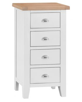 Kettle TT Bedroom White 4 Drawer Narrow Chest