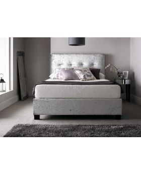 Walkworth Ottoman Storage Bed frame Double - Crushed Silver