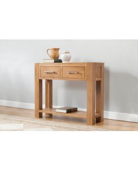 Michael O'Connor Lucerne Large 2 Drawer Oak Console Table with Shelf