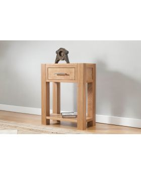 Michael O'Connor Lucerne Small Oak Console Table with 1 Drawer & Shelf
