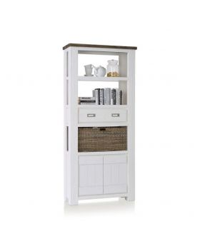 Habufa Deaumain Dining Bookcase High 2-Doors + 1-Drawer + 3-Nichen + 1-Basket - 90 cm.