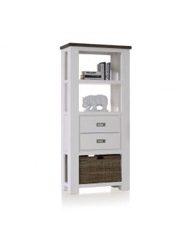 Habufa Deaumain Dining Bookcase Low 2-Drawers + 3-Niches + 1-Basket - 75 cm.