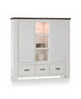Habufa Deaumain Dining Highboard 2-Doors + 3-Drawers + 3-Niches - 140 cm. + Halogen