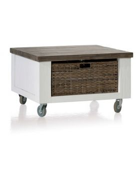 Habufa Deaumain Dining Tea Table 70 X 70 cm. + 1-Basket T&T with wheels + wooden leg