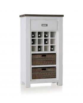 Habufa Deaumain Dining Wine Cabinet 1-DRAWER + 2-Baskets + 12-Wine Bottle Compartments