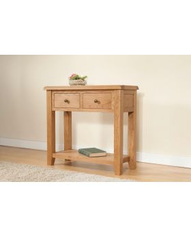 Michael Ou0027Connor Shrewsbury Oak Console Table With 2 Drawers ...