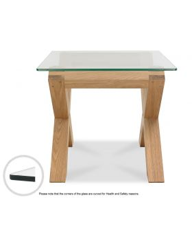 Turin Light Oak Glass Lamp Table