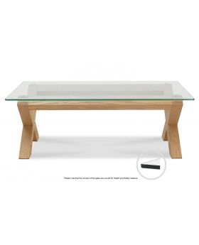 Turin Light Oak Glass Coffee Table