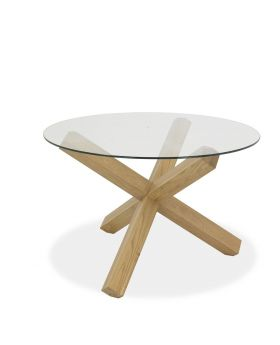 Turin Light Oak Circular Glass Table