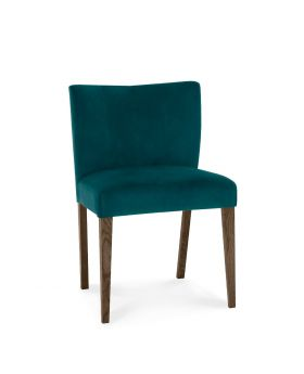 Turin Dark Oak Low Back Uph Chair - Sea Green Velvet Fabric (Pair)