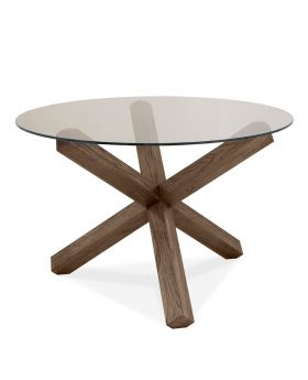 Turin Dark Oak Circular Glass Table