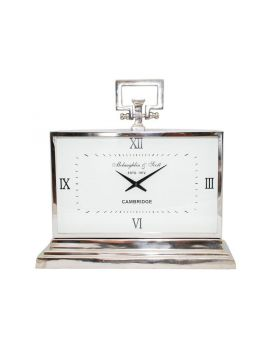 Libra latham medium aluminium rectangular clock with roman numerals