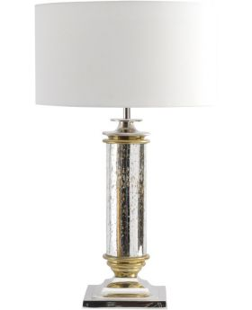 Libra turner antique silver empire column glass table lamp e27 60w with shade