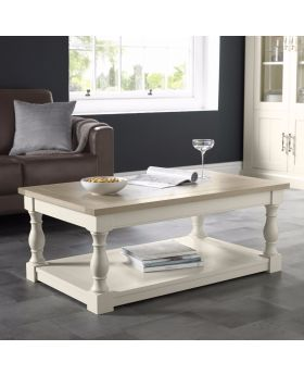 Bentley Designs Chartreuse Aged Oak & Antique White Coffee Table
