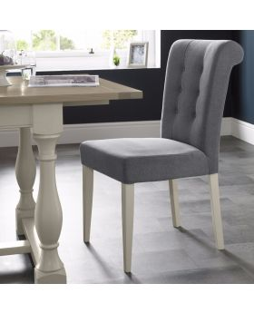 Bentley Designs Chartreuse Aged Oak & Antique White Uph Chair - Slate Blue (Pair)