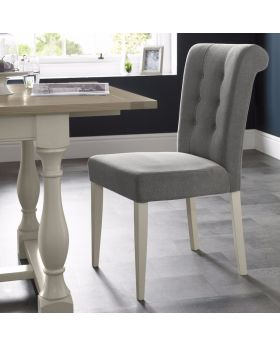 Bentley Designs Chartreuse Aged Oak & Antique White Uph Chair - Smoke Grey (Pair)