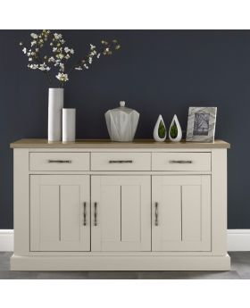 Bentley Designs Chartreuse Aged Oak & Antique White 3 Door Sideboard