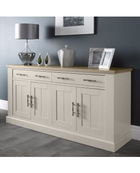 Bentley Designs Chartreuse Aged Oak & Antique White 4 Door Sideboard
