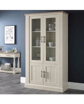 Bentley Designs Chartreuse Aged Oak & Antique White Display Cabinet