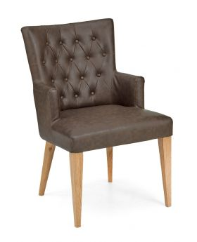 High Park Upholstered Arm Chair - Distressed Bonded Leather (Pair)