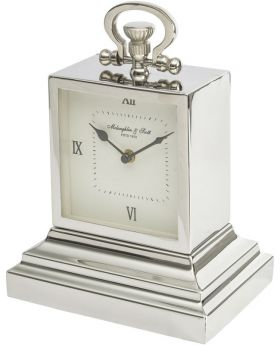 Libra latham extra small aluminium rectangular clock with roman numerals