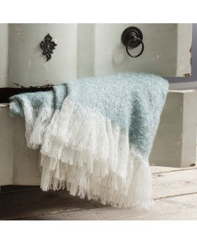 Frank Hudson Chic Faux Mohair Throw Duck Egg