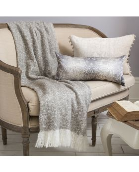 Frank Hudson Chic Faux Mohair Throw Taupe