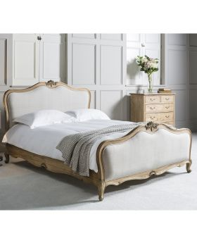 Frank Hudson Chic 6' Linen Upholstered Bed Weathered