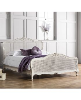Frank Hudson Chic 6' Cane Bed Vanilla White