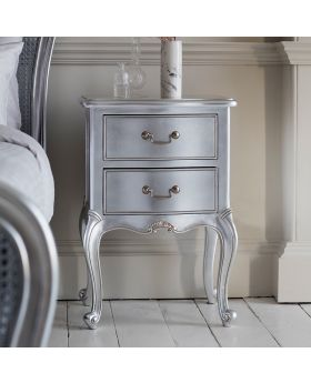 Frank Hudson Chic Bedside Table Silver