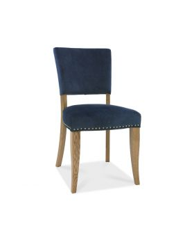 Bentley Designs Indus Pair of Rustic Oak Dark Blue Velvet Dining Chairs