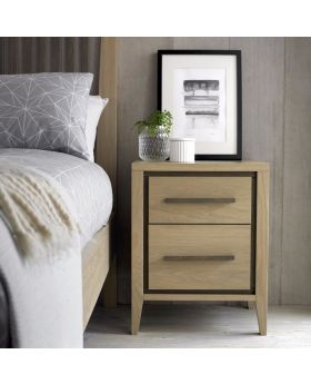 Bentley Designs Rimini Aged Oak & Weathered Oak 2 Drawer Nightstand