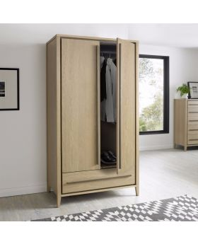 Bentley Designs Rimini Aged Oak & Weathered Oak Double Wardrobe