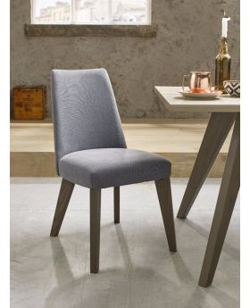 Bentley Designs Cadell Aged Oak Upholstered Chair - Slate Blue (Pair)