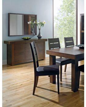 Bentley Designs Akita Walnut Slatted Chair - BrownFaux Leather (Pair)
