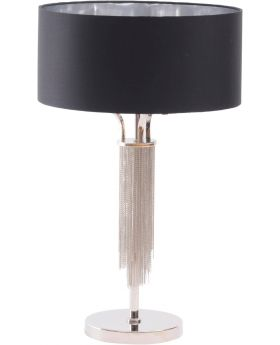 Libra Langan Table Lamp in Nickel with Black Shade
