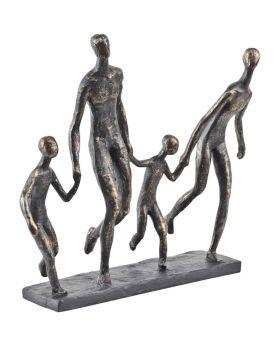 Libra Antique Bronze Family Of Four Holding Hands Sculpture