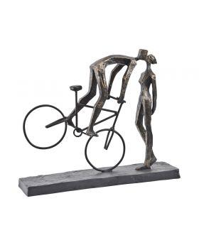 Libra Antique Bronze Kissing Couple on Bike Sculpture