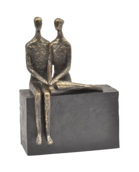 Libra Antique Bronze Couple on Block Sculpture