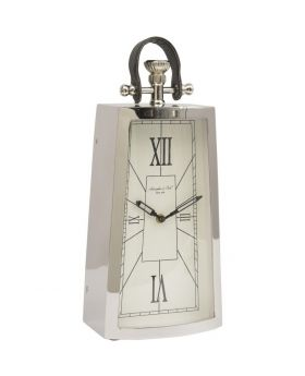 Libra Nickel And Black Mantel Clock With Leather Handle