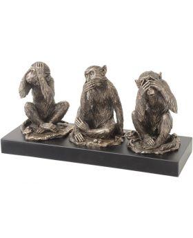 Libra Bronze Finish Wise Monkeys Sculpture