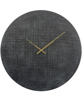 Libra Textured Black And Green Aluminium Wall Clock