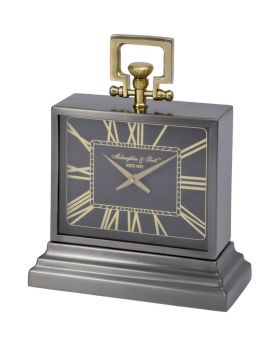 Latham Small Black And Gold Aluminium Rectangular Clock